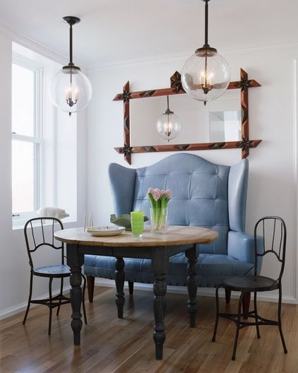 traditional dining room by Incorporated: Ideas, Dining Area, Benches, Traditional Dining Rooms, Breakfast Nooks, Breakfast Area, Blue Chairs, Small Spaces, Dining Tables