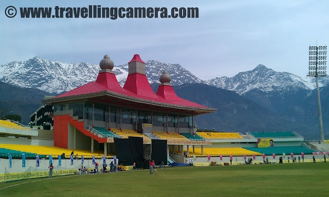 A Beautiful Cricket Stadium surrounded by snow covered hills @ Dharmshala, India
