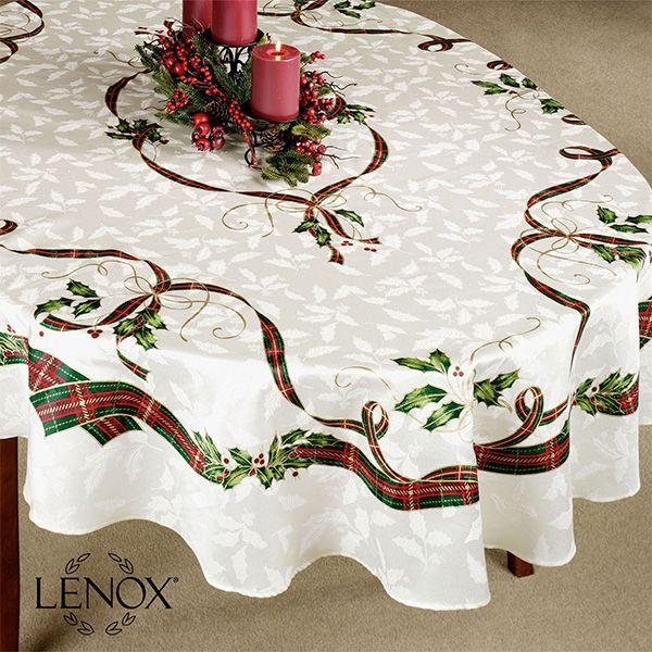 Lenox Holiday Nouveau Holly Oval Tablecloth And Table Linens Oval Tablecloth Holiday Table Linens Christmas Table Cloth