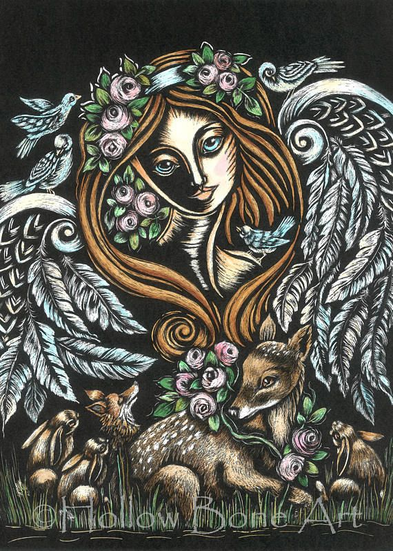 Forest Guardian Matted Print  Angel and Animal Art  Black