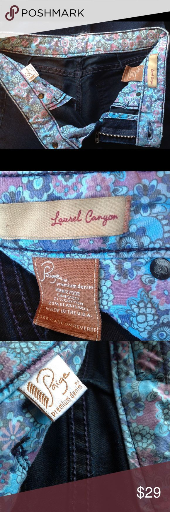 """PAGE PREMIUM DENIM LAUREL CANYON JEANS SIZE 5/6 PAIGE PREMIUM DENIM WOMEN'S JEANS """"LAUREL CANYON"""" SIZE 5/6 RISE 7"""" LEG OPENING 8""""  WAIST 13"""" COMES FROM A SMOKE FREE HOME. (205) Paige Jeans Jeans Boot Cut"""