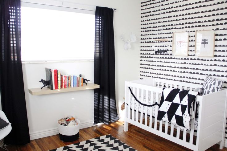 Graphic Black and White Woodland Nursery - #nursery #blackandwhite #nurserydecorBlackandwhite, White Nurseries, Boys Nurseries, Black And White, White Nursery, Black White, Projects Nurseries, Baby Boy, Room