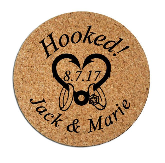 Wedding Favors Coasters Personalized Round Cork Drink Custom Hooked