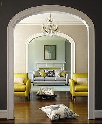 Settee Home Decorating Interrior Design Color Combo Grey Yellow Branches Bedroom