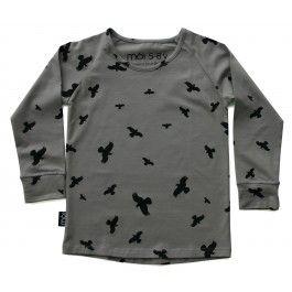 Grijs T-shirt met grote vogels - Mói