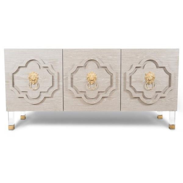 Marrakesh 3 Door Credenza in Light Oak ($1,946) ❤ liked on Polyvore featuring home, furniture, storage & shelves, sideboards, oak wood furniture, oak credenza, oakwood furniture, oak furniture and oak buffet