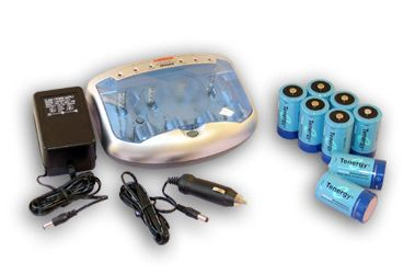 Image of Combo: Tenergy T-2299 Universal Smart Charger + 8 D 10000mAh NiMH Rechargeable Batteries