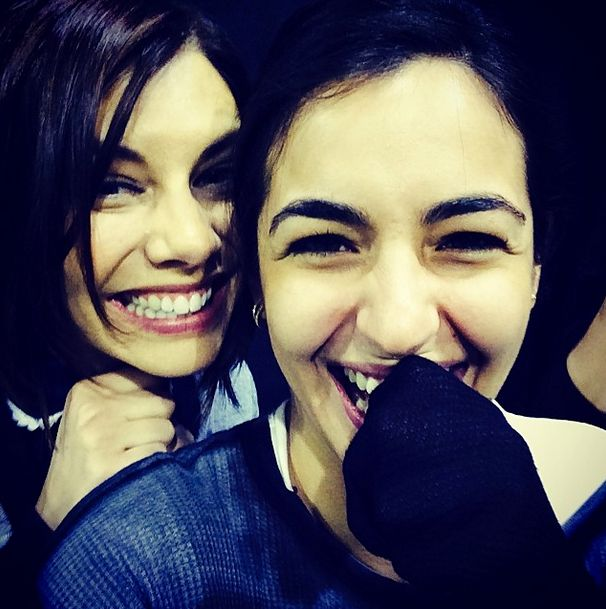 Lauren Cohan (Maggie) and Alanna Masterson (Tara) on the set of The Walking Dead. #TWD