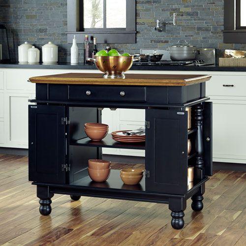 Home Styles Furniture Americana Black Kitchen Island 5082 94 Bellacor In 2021 Black Kitchen Island Kitchen Island With Seating Americana Kitchen