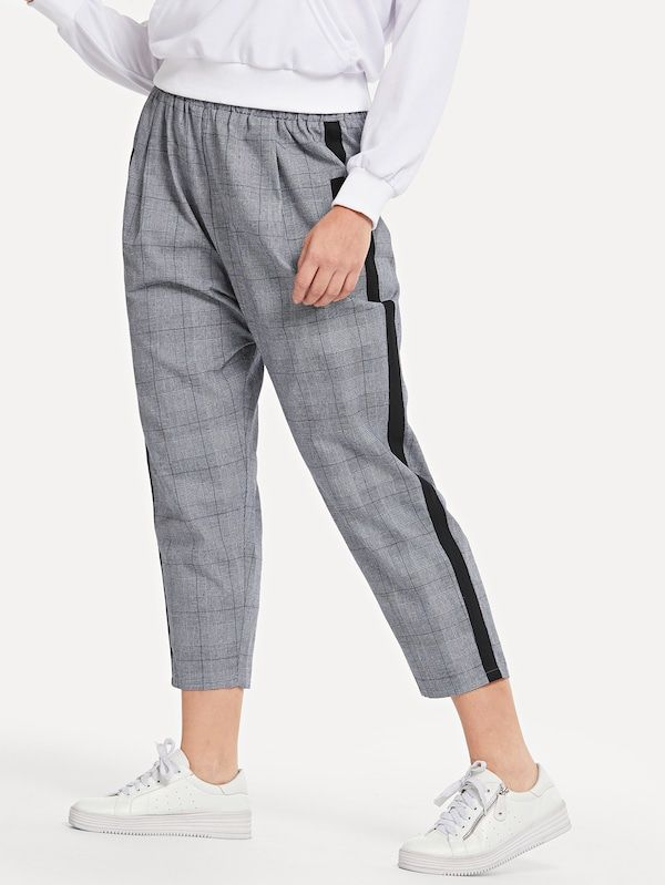 Pantalones Conicos Con Diseno De Cinta De Cuadros Grande Spanish Shein Sheinside Pu Leggings Side Leggings Tapered Pants