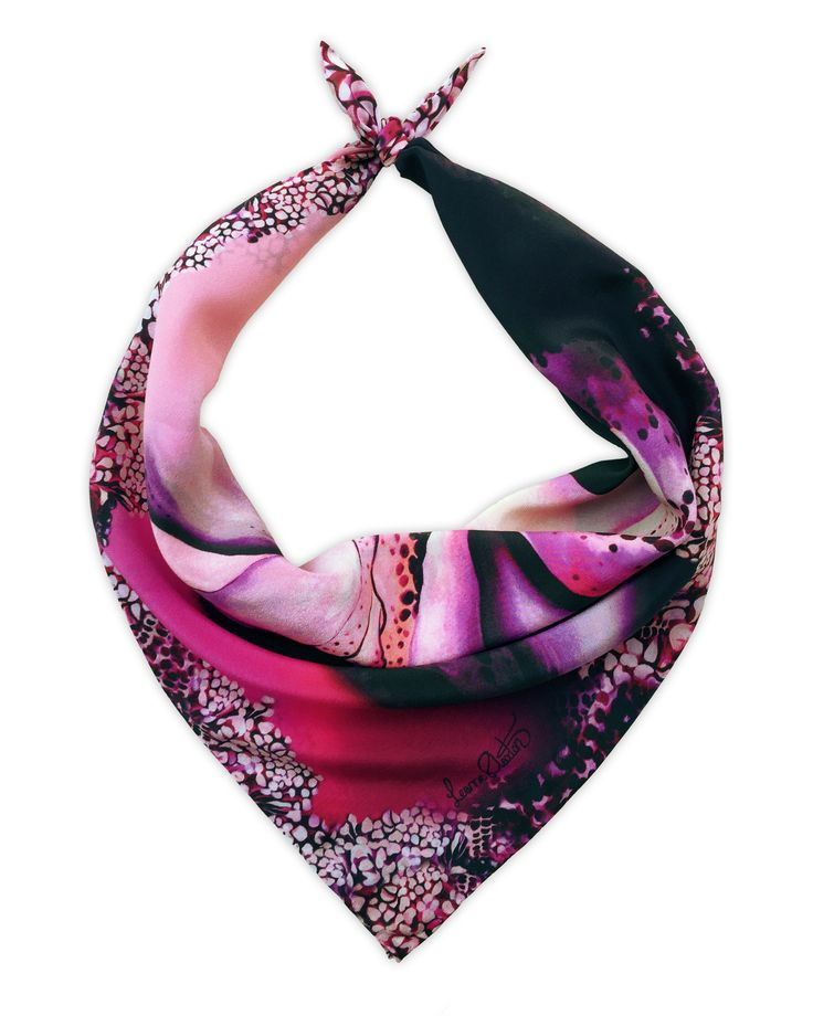 Shop the 'Cameilla' Luxury Silk Short Scarf online. All Leanne Claxton scarves are taken from a series of oil painted canvases by the artist, which are digitally transformed and printed onto 100% silk. View our Winter 2016 Digital collection, available in a range of colours, styles and sizes, at www.leanneclaxton.com