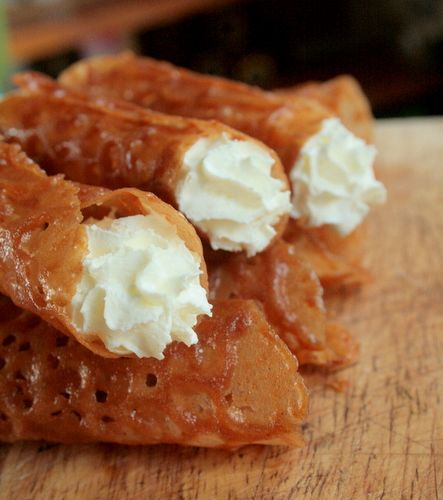 brandy snaps filled with cream from Butcher Baker