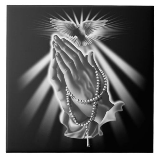 Praying Hands with Rosary Beads and Dove Ceramic Tile | Zazzle