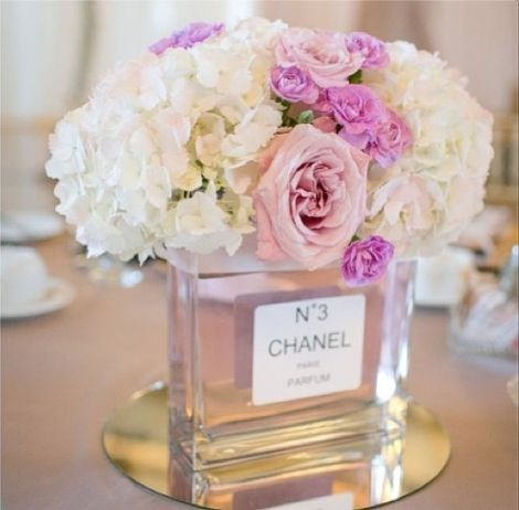 Upcycling idea.  Take an old perfume bottle and turn it into a vase.
