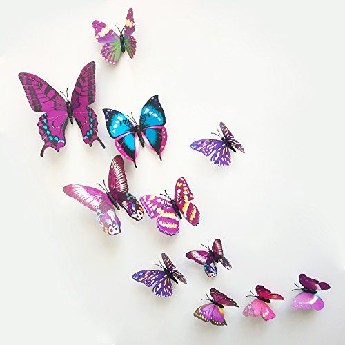 Ideal Dushang PCS D Color Butterfly Wall Stickers with Adhesive Art Decal Satin Paper Butterflies Home DIY