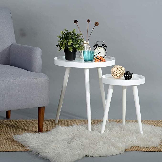Eggree White Nesting Coffee End Tables Set Of 2 Accent Sofa Bed Side Table Modern Round Wood Tables For L Living Room Table Round Coffee Table Modern Furniture
