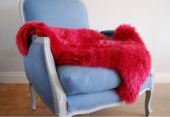 Raspberry Pink Sheepskin Rug Throw Genuine Superior Sheepskin Large Rug by Swedishdalahorse #TrendingEtsy