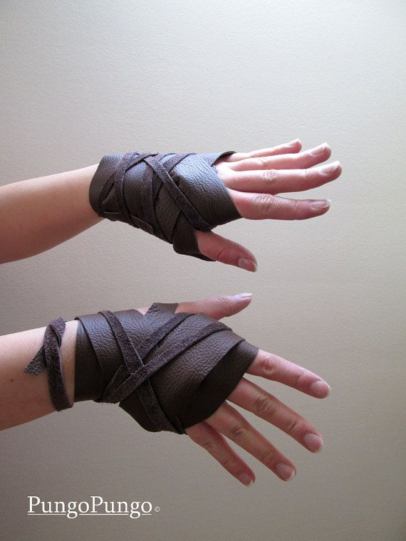Fingerless Leather Gloves OR Wraps Daenerys by PungoPungo on Etsy