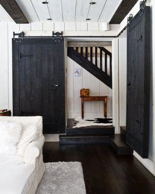 blackThe Doors, Sliding Barns Doors, Black Doors, Black And White, Interiors Barns Doors, Sliding Barn Doors, Black White, House, Sliding Doors