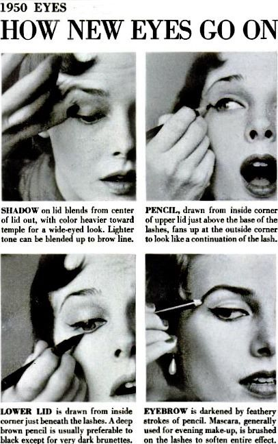 """1950s eye makeup """"how to"""" turtorial. When making faces while applying makeup was classy."""