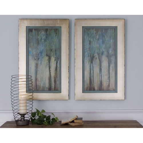 Genial Uttermost Whispering Wind Aqua Blue Framed Art, Set Of 2