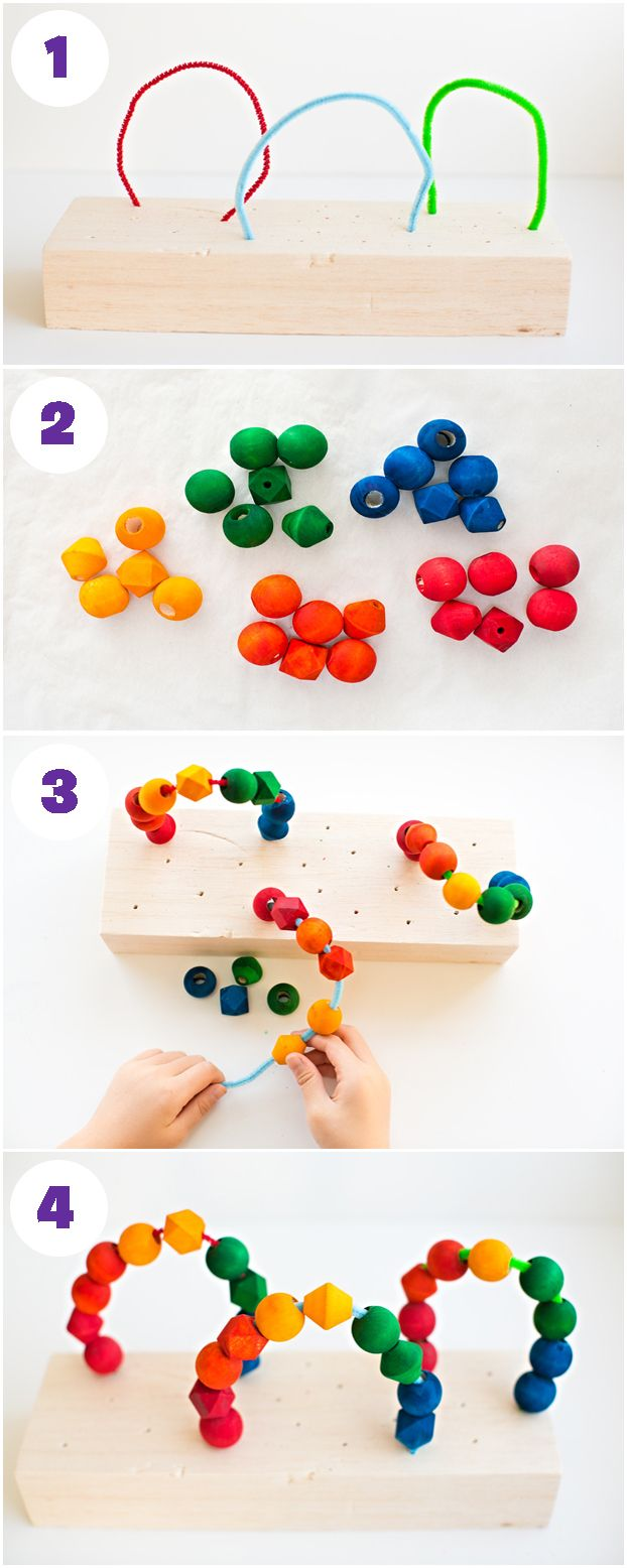 The cool thing about babies is that they are so easily entertained. Seriously, they can play with a cardboard box for hours. Step up your toy game to something a little better than a cardboard box with this simple DIY Rainbow Wooden Beads toy. It is so easy to make and is the ultimate child distraction tool—plus, your baby and toddler can play side by side. There's nothing better!