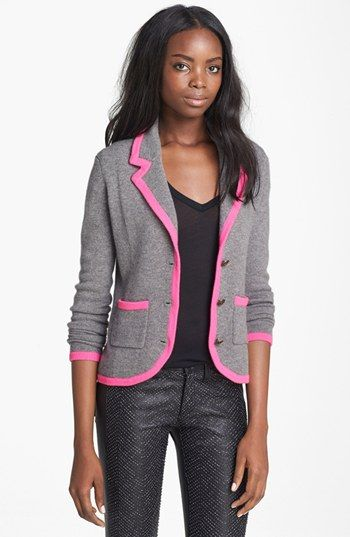 autumn cashmere Contrast Trim Cashmere Blazer When it's time to replace your best cashmere sweater… http://www.focusonstyle.com/stylist-advice/best-cashmere-sweater/  #cashmere #clothingcare #sweater