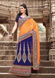 Blue Color Beautiful Wedding Like Designer Lehenga Saree With Amazing Embroidery Work