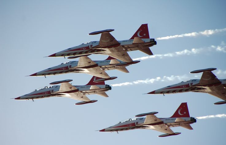 close up view of turkish star f5 planes in formation