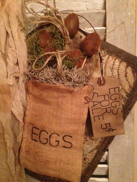 Primitive Grubby Eggs Burlap Hanging Peg Hanger Make Do Spring Easter