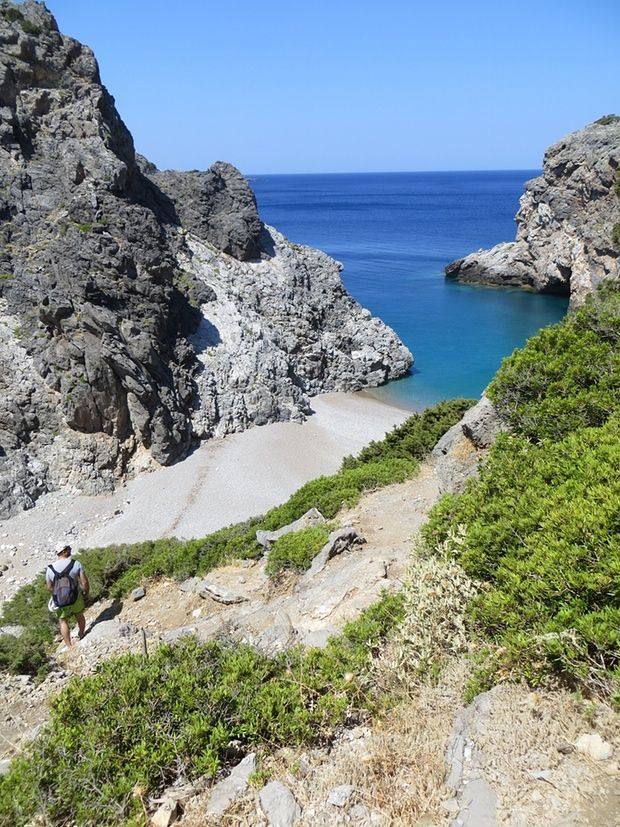 Kalami beach above the cliff, Kythira, Greece