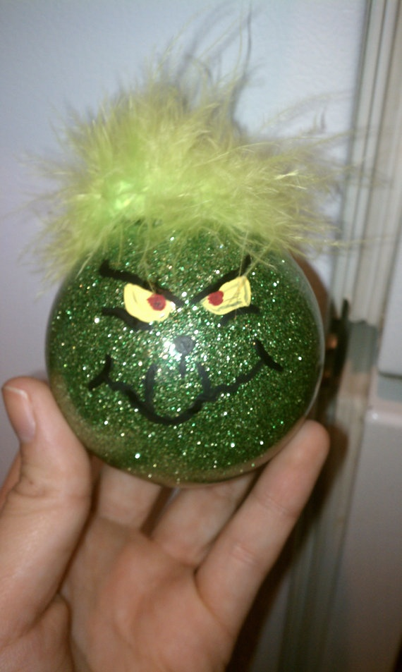 Hand Glittered and Painted Glass Grinch Ornament by nicoledj, (like this idea but think id alter it a little)