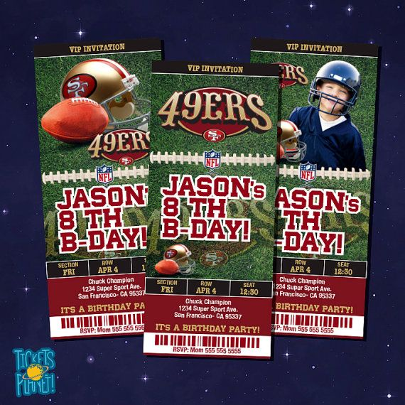 San Francisco 49ers Tickets Birthday Invitation by TicketsPlanet, $12.00 - WITH CHILD PICTURE - 49ERS - SAN FRANCISCO 49ERS