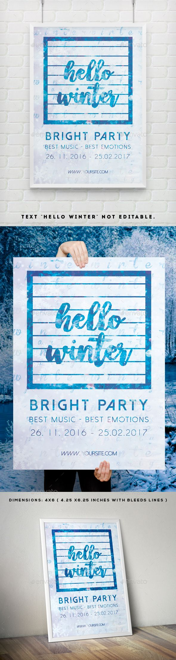 Poster design dimensions - Hello Winter Party Flyer Poster Template