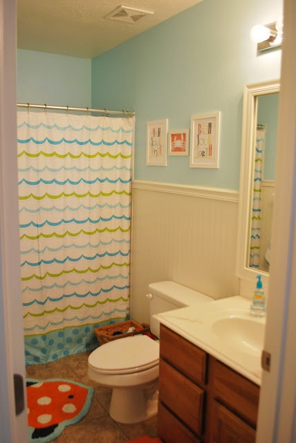 simple blue and white color scheme kids bathroom design inspirations for brighten with beautiful horizontal pattern white curtain decorating and beautiful