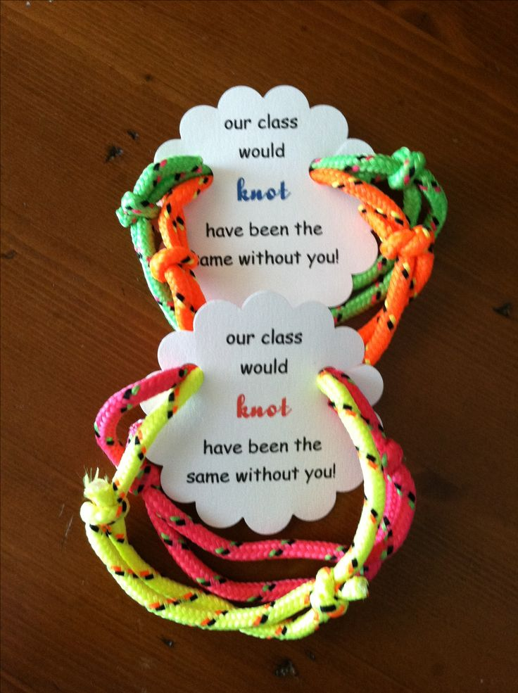 """End of the year school/classmate gift for the kids to give out.  Friendship bracelet with a tag that says """"our class would knot have been the same without you"""".  Once you make the template, you can change it up for virtually any occasion ie party favors.  You can change the font and colors and get creative with it.  Dandee-designs.com inspired."""