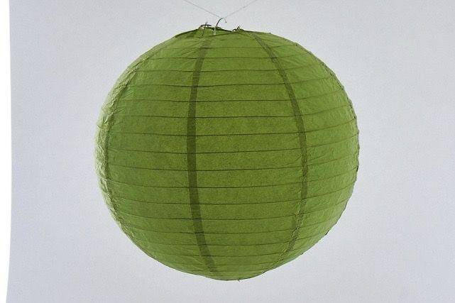 Lanterna di carta di riso da appendere, colore Verde 30 cm, con gancio.