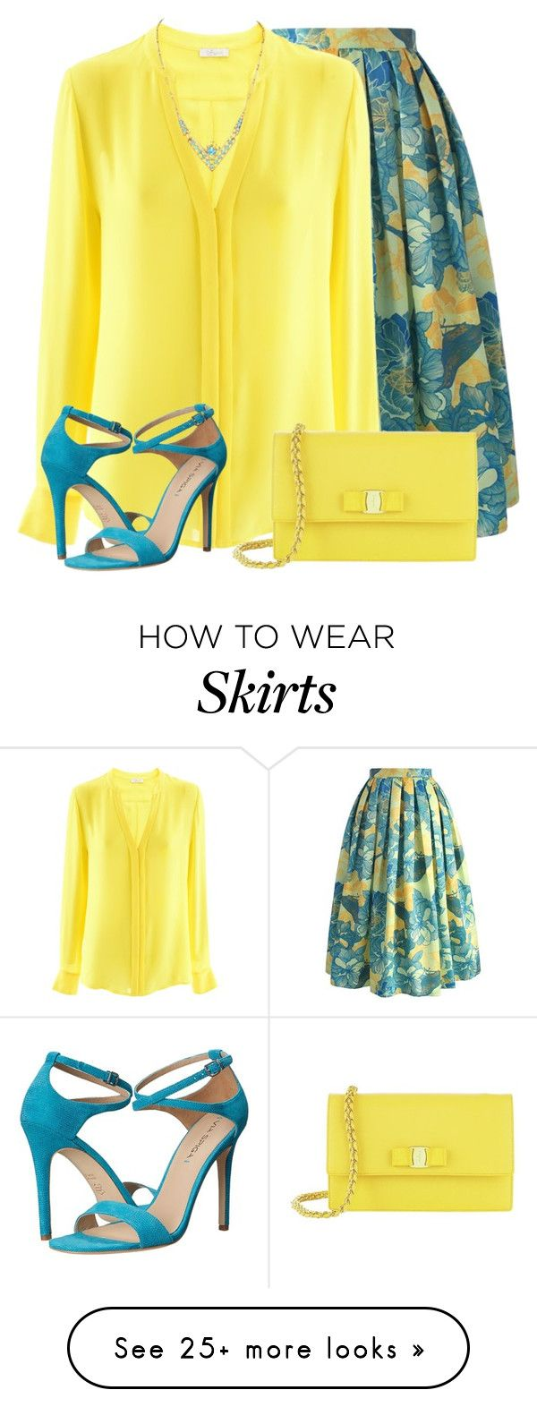 """Floral Spring Skirt"" by daiscat on Polyvore featuring Chicwish, iHeart, Salvatore Ferragamo and Via Spiga"