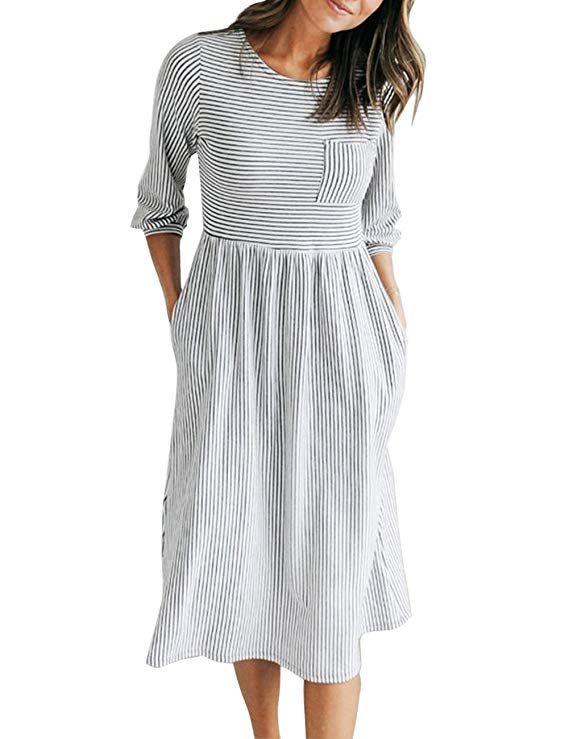 40d043bb7 MEROKEETY Women's 3/4 Balloon Sleeve Striped High Waist T Shirt Midi Dress  with Pockets at Amazon Women's Clothing store: