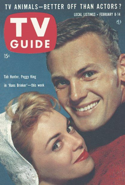 """TV Guide, February 8, 1958 - Tab Hunter and Peggy King on """"Hans Brinker"""""""