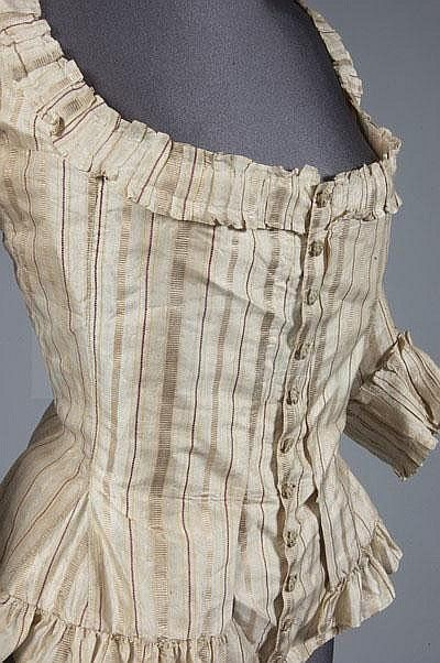 Caraco bodice, 1770s. Ivory silk striped in gold and copper tones with fine red and lime lines, lined in apricot and green stripes silk with embroidered buttons.