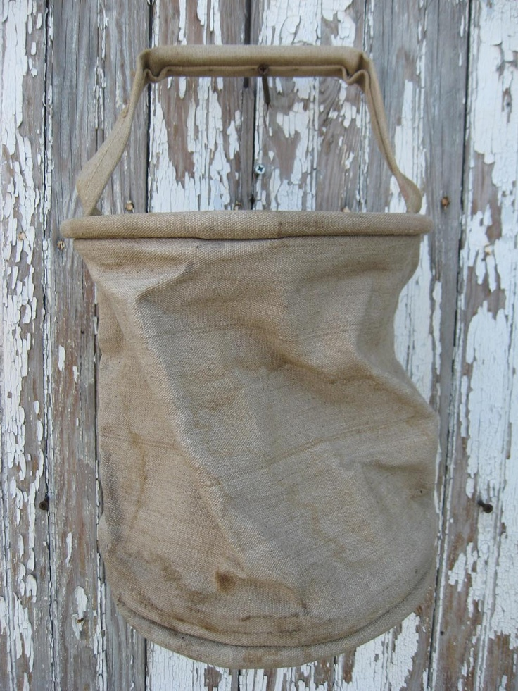 Old FRENCH canvas UTILITY BUCKET stamped by oldetymemarketplace