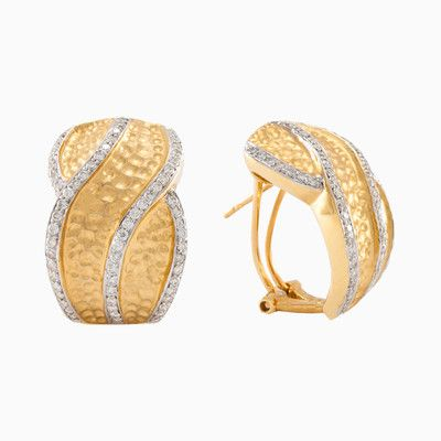 Awesome earrings in 18kt yellow gold with sparkling diamonds, with total weight 0.87 ct. Matt, rough surface makes earrings even more interesting.