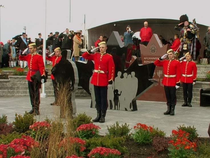 Freshly unveiled by Cadets, monuments at Afghanistan Repatriation Memorial ceremony.