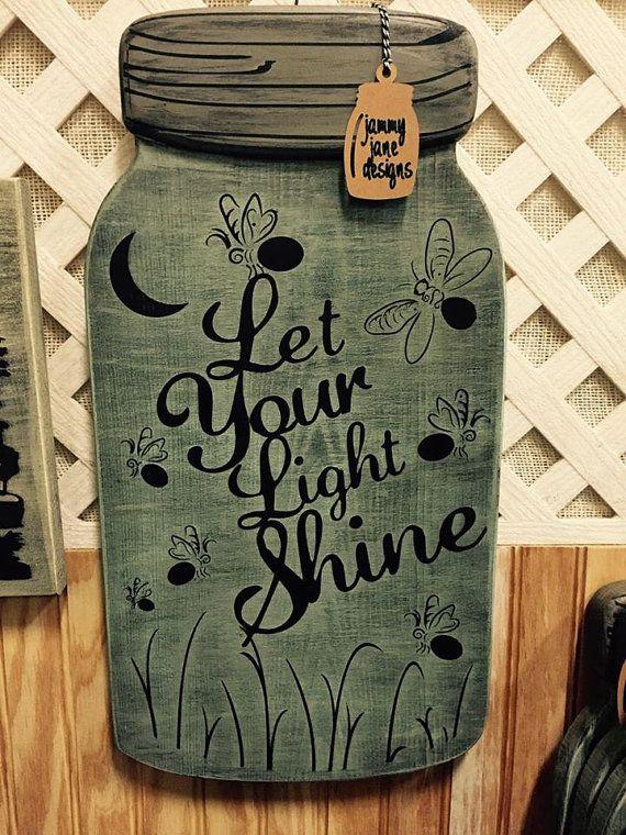 "Large Mason Jar Shaped Hand painted Wood Sign 18"" x 9"" ""Let Your Light Shine"""