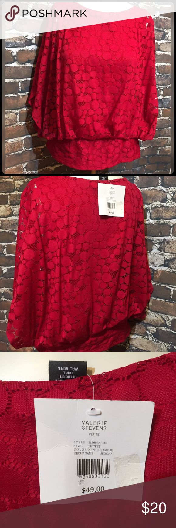 Red Batwing Top Beautiful red top with fitted waist band. NWT 100% Nylon. Size is Petite valarie stevens Tops Tunics
