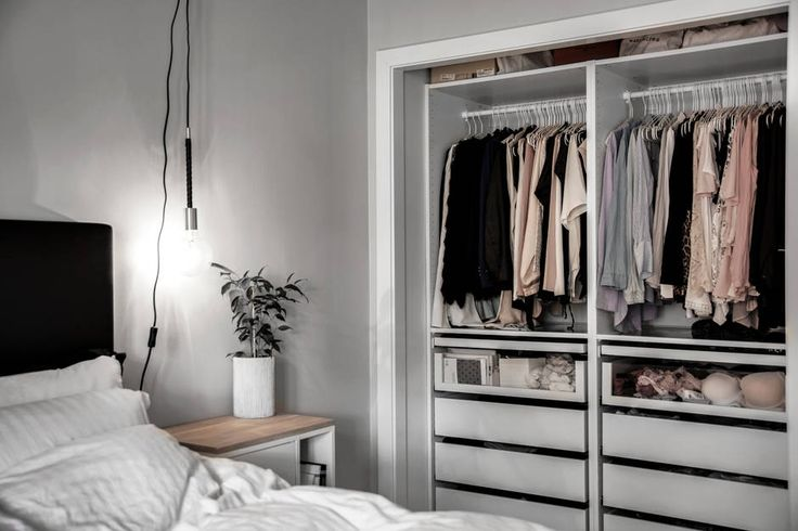 Bedroom with closet from Ikea in the model PAX.
