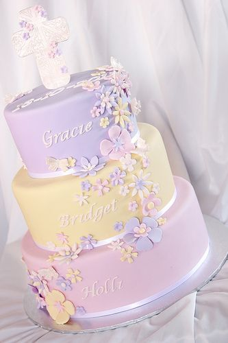 3 Tier Pastel baptism cake. Maybe same but two tiers, name on top tier, date on bottom tier?