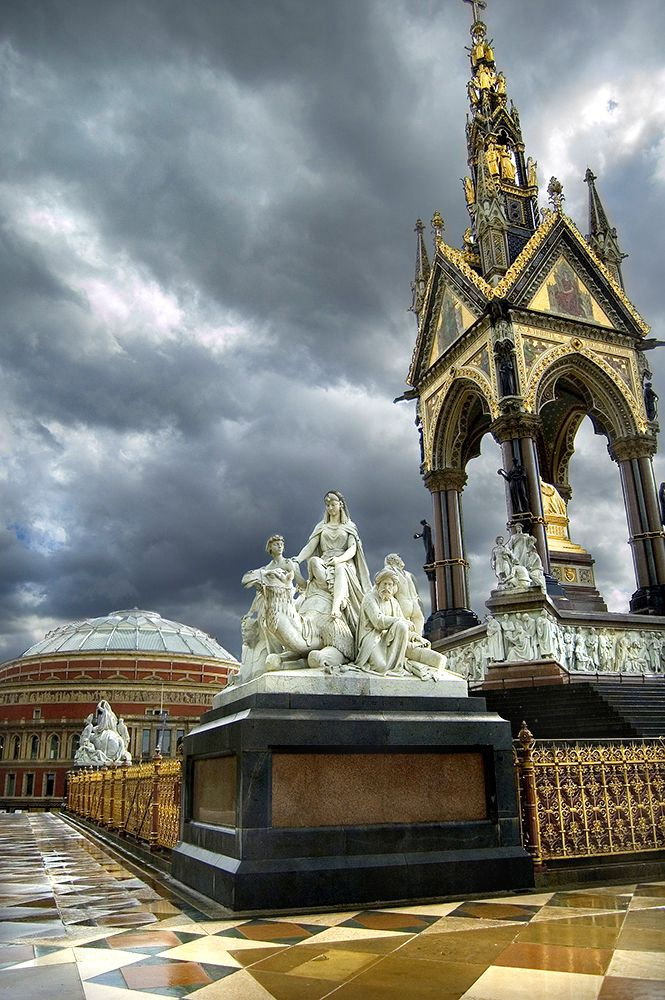 The Royal Albert Hall - the memorial keeps the foreground interesting & the electrical Summer storm provided an ominous sky.