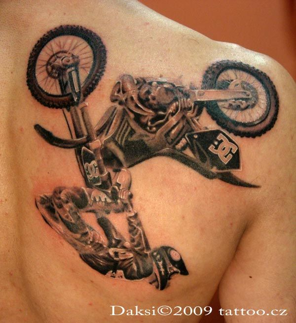 Freestyle Motocross Black And Gray Tattoo I Would Never Get This It